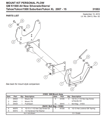 Picture of Western Defender truck mount GM1500 (2007-2018) 31553-1