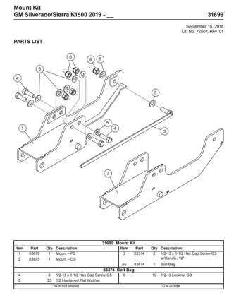 Picture of UltraMount truck mount Chevy GMC 31699 - 2019-2021
